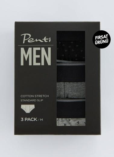 Penti Dark Prınted Tape 3Lü Mıd Slıp Renkli